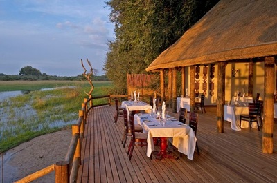 Dining area and view at Chief's Camp, Botswana