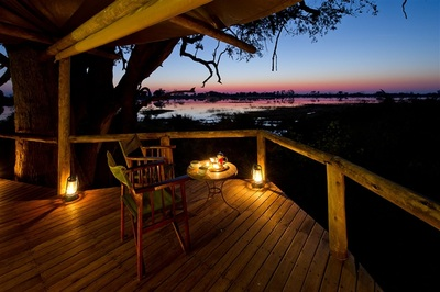 Evening view at Xigera from your private deck, Botswana