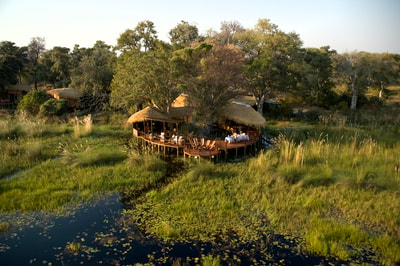 Aerial view of Baines Camp, Okavango Delta
