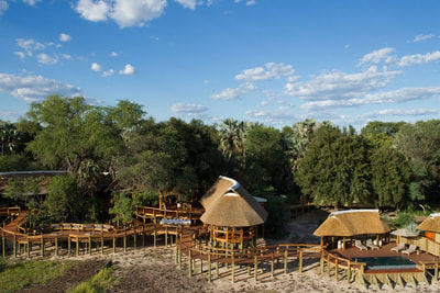 Aerial view of main lodge area, Camp Okavango, Botswana