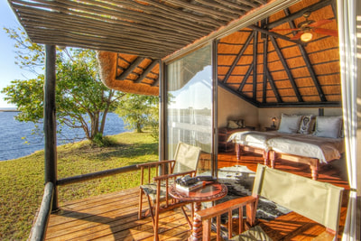View of room and private deck at Chobe Savanna Lodge