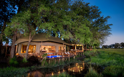 Luxury accommodation and private pool at Duba Plains Camp, Botswana