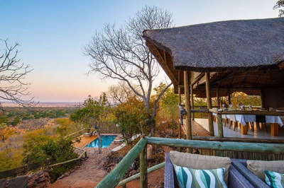 View from main area at Ghoha Hills Savute Lodge, Chobe