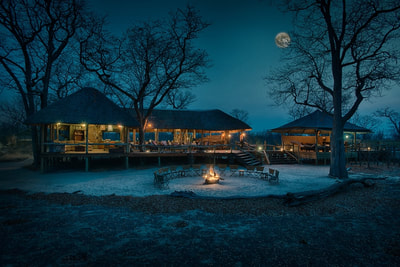 Main lodge area at night, Hyena Pan Camp