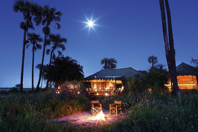 Main area at Jack's Camp, Makgadikgadi Pans, at night.