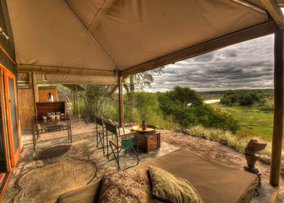 Private verandah and view at Meno a Kwena Lodge, Botswana