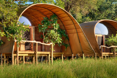 Accommodation unit, exterior, at Okuti Camp, Moremi Game Reserve
