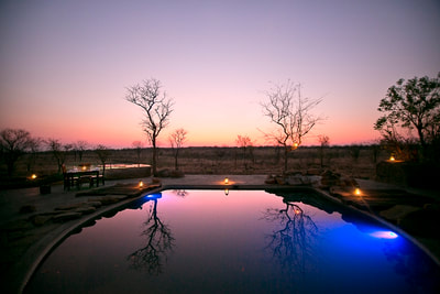 View of the swimming pool at sunset, Wildtracks Safari Lodge