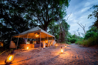 Main camp area at night, Xobega Island Camp, Botswana