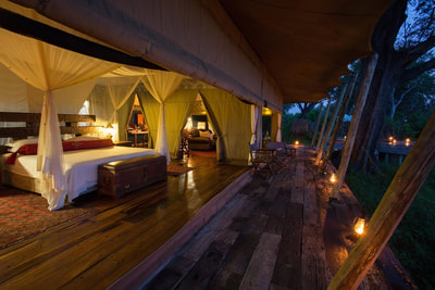 Exterior of suite, at night, Zarafa Camp, Selinda Reserve, Botswana